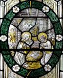 La natività: la nascita di Gesù in vetro macchiato Immagine Stock Libera da Diritti