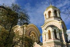 La nativité de la cathédrale orthodoxe du Christ, Riga, Lettonie Images stock