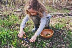 La natura d'esplorazione della ragazza del bambino nella foresta in anticipo della molla scherza l'apprendimento amare la natura  Fotografia Stock Libera da Diritti