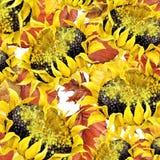 La natura di autunno dell'acquerello lascia il fondo Fotografia Stock