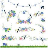 La natura fiorisce l'erba e l'uccello Illustrazione Vettoriale