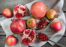 La natura morta dell'autunno fruttifica, melograni, uva, mele Fotografia Stock Libera da Diritti