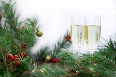 La natura morta di Natale, il champagne, pino si ramifica, bacche rosse, gol Fotografia Stock Libera da Diritti