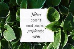 La naturaleza de la cita del texto no necesita a gente pero la gente necesita la naturaleza ahorrar imágenes de archivo libres de regalías