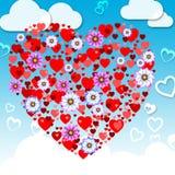 La naturaleza de las mariposas significa el día y los animales de la tarjeta del día de San Valentín stock de ilustración