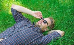La naturaleza lo llena de frescura y de la inspiración El individuo sin afeitar del hombre pone en prado de la hierba verde Fresc imagen de archivo