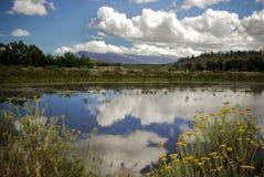 La naturaleza refleja en el lago claro de la montaña en África Imagen de archivo libre de regalías