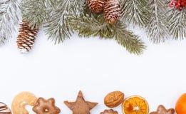 La naturaleza y la comida de la Navidad enmarcan la frontera en blanco Fotos de archivo