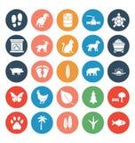 La naturaleza y la fauna aislaron el sistema de los iconos del vector que puede modificarse o corregir f?cilmente libre illustration