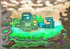 La naturaleza y una ciudad de un planeta extranjero ilustración del vector