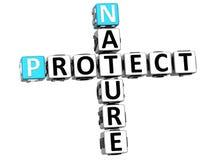 la nature 3D protègent des mots croisé Photographie stock libre de droits