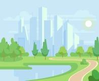La nature de ressort ou d'été et les arbres verts dans la ville se garent avec l'illustration urbaine de vecteur d'horizon illustration de vecteur