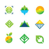 La nature verte sauvage a capturé l'énergie pour l'icône de logo de génération future Images stock