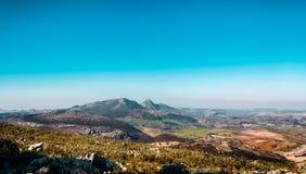 La Nava. Imagen tomada desde lo alto de una montaña en Cañete la Real, Málaga royalty free stock photo