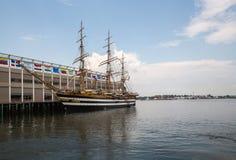 La nave alta atracó en muelle en Boston mA LOS E.E.U.U. fotos de archivo libres de regalías