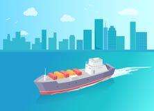 La nave da carico lascia la traccia in mare Marine Vessel Icon illustrazione di stock