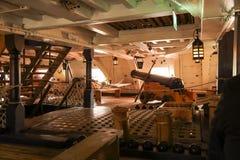 La nave da guerra di HMS Victory Famous in questione nella battaglia di Trafalgar ha capitanato da ammiraglio Lord Nelson Fotografia Stock Libera da Diritti