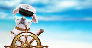 La nave de los controles del marinero del perro volante adentro el fondo del mar Fotografía de archivo libre de regalías