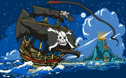 La nave de pirata que navega a Skull Island Fotos de archivo libres de regalías
