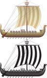 La nave de Vikingo. La versión completa y un contorno Imagenes de archivo
