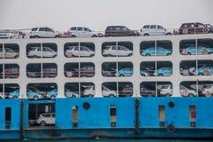 La nave del RO/RO ha continuato il fiume Chang Jiang nell'area del bacino idrico di Zigui Three Gorges, provincia di Hubei Fotografie Stock