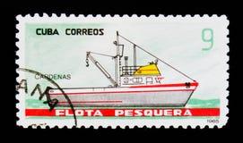 La nave di Cardenas, da pesca spedisce il serie, cubano circa 1965 Immagine Stock Libera da Diritti