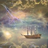La nave di navigazione naviga le stelle Immagine Stock Libera da Diritti