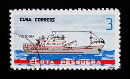 La nave di Victoria, da pesca spedisce il serie, Cuba circa 1965 Fotografia Stock Libera da Diritti