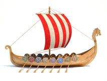 La nave di Viking in bottiglia di vetro 3d ha isolato l'illustrazione illustrazione vettoriale