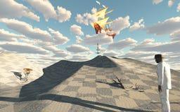 La nave en cielo cae el ancla stock de ilustración