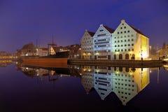 La nave en la noche en Gdansk Imagen de archivo libre de regalías