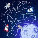 La nave espacial dos está flotando en espacio abierto alrededor de un asteroide con los cráteres ilustración del vector