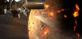 La nave espacial llega en el asteroide extranjero del planeta fotos de archivo libres de regalías