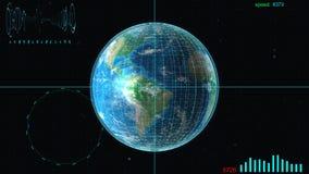 La nave espacial se está acercando a la tierra, a través de las estrellas ilustración del vector