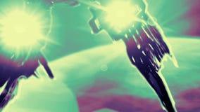 La nave extranjera del pulpo está aterrizando al planeta ilustración del vector