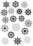 La nave spinge dentro il retro insieme dell'icona di stile illustrazione di stock