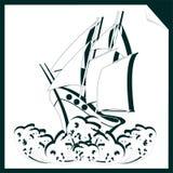 La nave sulle onde da Libro Bianco Fotografie Stock Libere da Diritti
