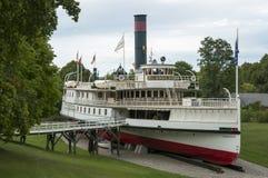 La nave a vapore di Ticonderoga su esposizione al museo di Shelburne immagine stock