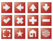 La navegación del Web abotona rojo Fotografía de archivo
