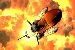 La navette spatiale décolle dans les nuages du feu illustration libre de droits