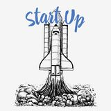 La navette spatiale décolle exploration astronomique d'astronaute gravé tiré par la main dans le vieux croquis, style de vintage  illustration libre de droits