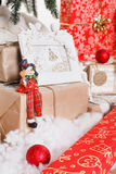La Navidad, Año Nuevo, bolas rojas de la Navidad Imágenes de archivo libres de regalías