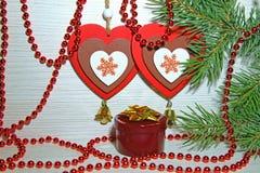 La Navidad, Año Nuevo, día del ` s de la tarjeta del día de San Valentín del St Corazón multicolor dos Fotografía de archivo