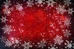 La Navidad, Año Nuevo, fondo abstracto rojo con los copos de nieve y nieve, estrellas libre illustration