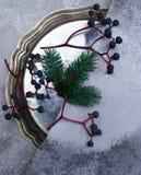 La Navidad, Año Nuevo placa de plata, seda, rama del piel-árbol, un manojo de uvas Visión superior Fotografía de archivo libre de regalías