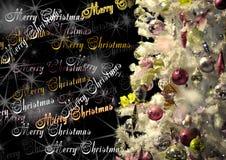 La Navidad adornó el árbol de navidad en fondo negro con el insc Imagen de archivo libre de regalías