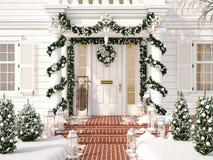 La Navidad adornó el pórtico con los pequeños árboles y linternas representación 3d Foto de archivo