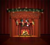 La Navidad adornó la chimenea Fotografía de archivo libre de regalías