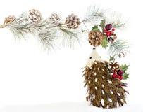 La Navidad adorna el vintage de madera de la decoración del erizo rústico Fotografía de archivo