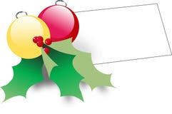 La Navidad adorna w Notecard Foto de archivo libre de regalías